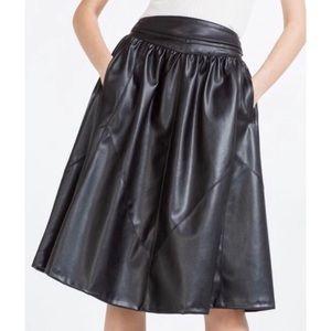 ZARA Faux Leather Vegan MidiSkirt Black size Small